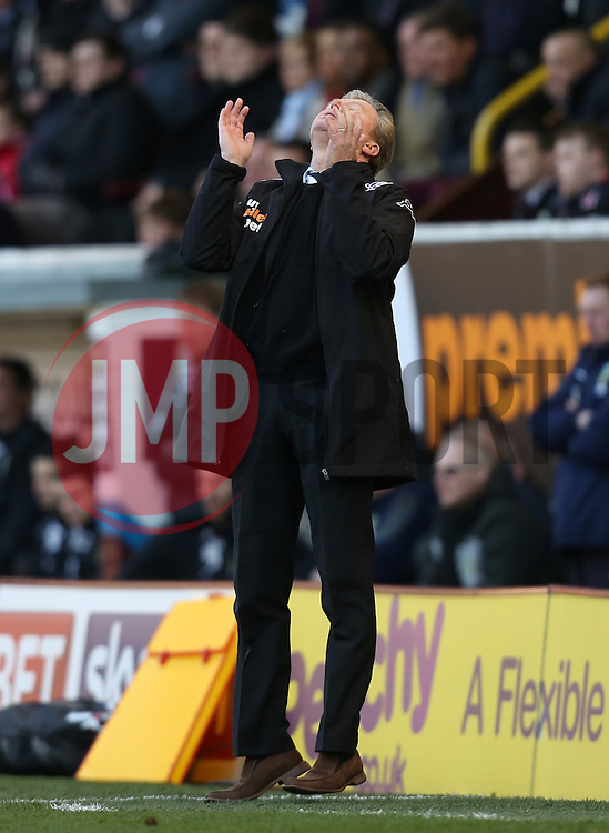 Derby County Manager, Steve McClaren shows his frustration  - Photo mandatory by-line: Matt Bunn/JMP - Tel: Mobile: 07966 386802 22/02/2014 - SPORT - FOOTBALL - Turf Moor Stadium- Burnley - Burnley  v Derby County- Sky Bet Championship