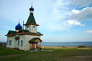 Tiny Russian Orthodox church on the shores of Lake Baikal - a popular stopover on the Trans-Siberian railway.