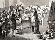 Joseph Black (1728-99) Scottish chemist, lecturing on latent heat at Glasgow university. Illustration from  'Les Merveilles de la Science' by Louis Figuier (Paris, c1870).