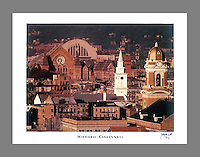 Signed and numbered 19x24 poster of Historic Cincinnati featuring Union Terminal, Music Hall, St. Paul's and Old St. Mary's in Over the Rhine