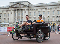 LONDON UK 30TH JULY 2016: Freecycle participants pass Buckingham Palace. The Prudential RideLondon FreeCycle event over closed roads around the city. Prudential RideLondon in London 30th July 2016.<br /> <br /> Photo: Jed Leicester/Silverhub for Prudential RideLondon<br /> <br /> Prudential RideLondon is the world&rsquo;s greatest festival of cycling, involving 95,000+ cyclists &ndash; from Olympic champions to a free family fun ride - riding in events over closed roads in London and Surrey over the weekend of 29th to 31st July 2016. <br /> <br /> See www.PrudentialRideLondon.co.uk for more.<br /> <br /> For further information: media@londonmarathonevents.co.uk