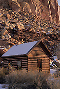 Log Cabin, Cabin, Chinking, Canyon, Winter, Snow, Capitol Reef, Capitol Reef National Park, Utah