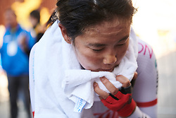 Eri Yonamine (JPN) recovers after the UCI Road World Championships 2018 - Elite Women's ITT, a 27.7 km individual time trial in Innsbruck, Austria on September 25, 2018. Photo by Sean Robinson/velofocus.com