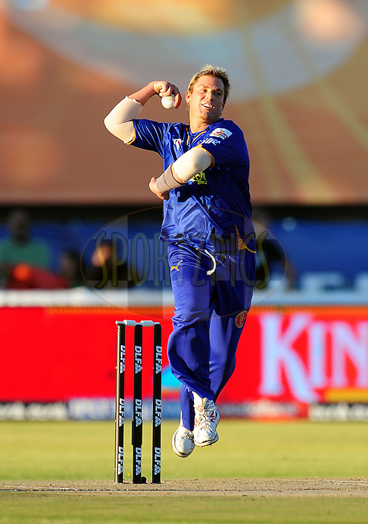 KIMBERLEY, SOUTH AFRICA - 11 May 2009. Shane Warne  during the  IPL Season 2 match between the IPL Rajasthan Roylas vs Deccan Chargers XI  held at De Beers Diamond Oval in Kimberley. South Africa..