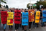 """Roma, 27 Ottobre 2012: .No Monti Day, manifestazione nazionale contro le politiche del  governo Monti..Book-Block sulla tangenziale..""""No Monti Day"""" protest in Rome against the austerity cuts of the Italian government.."""