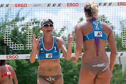 Simona Fabjan and Andreja Vodeb of Slovenia at A1 Beach Volleyball Grand Slam presented by ERGO tournament of Swatch FIVB World Tour 2012, on July 17, 2012 in Klagenfurt, Austria. (Photo by Matic Klansek Velej / Sportida)
