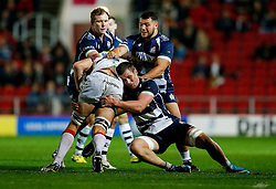 Doncaster Knights Lock Jon Phelan is tackled by Bristol Rugby Number 8 Rayn Smid - Mandatory byline: Rogan Thomson/JMP - 06/11/2015 - RUGBY UNION - Ashton Gate Stadium - Bristol, England - Bristol Rugby v Doncaster Knights - Greene King IPA Championship.