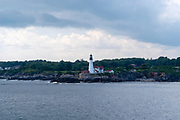 Seaside view of the Portland Head Lighthouse, near Portland, Maine, USA.