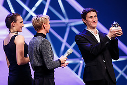 Peter Prevc receiving trophy for Slovenian sportsman of the year at Slovenian Sports personality of the year 2016 annual awards presented on the base of Slovenian sports reporters, on December 13, 2016 in Cankarjev dom, Ljubljana, Slovenia. Photo by Grega Valancic / Sportida