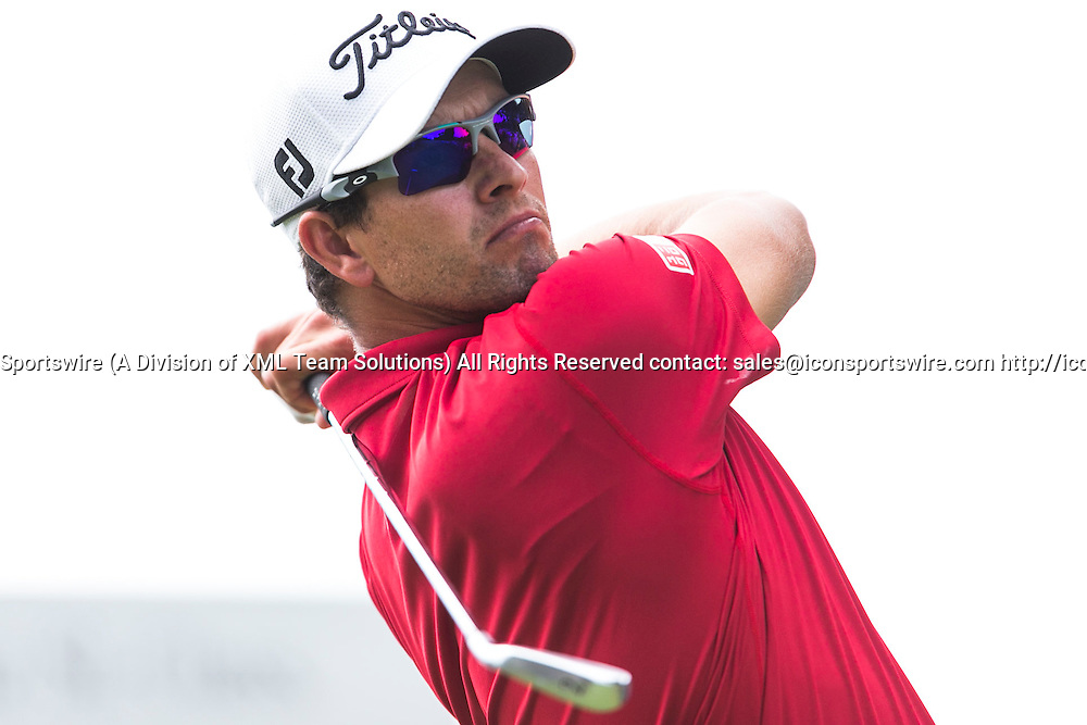 November 22, 2014: Adam Scott tees off with his iron  during the third round of the Australian Golf Masters at Metropolitan Golf Club, Melbourne Victoria Australia
