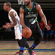 Delaware 87ers Guard BARON DAVIS (24) dribbles down the floor in the first half of a NBA D-league regular season finale between the Delaware 87ers and the Westchester Knicks Friday, Apr. 01, 2016, at The Bob Carpenter Sports Convocation Center in Newark, DEL.<br /> <br /> The Westchester Knicks will open up post season play verses the sioux skyforce Tuesday, Apr 5, 2016, at The Westchester County Center in White Plains, NY.
