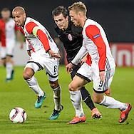 20-10-2016: Voetbal: Feyenoord v Zarja Loegansk: Rotterdam<br /> <br /> (L-R) Karim El Ahmadi (feyenoord), Nicolai Jorgensen (Feyenoord) during Europa League match between Feyenoord and Zorja Luhansk on 20 oktober 2016 at Stadion Feijenoord (de Kuip), Rotterdam, Zuid-Holland<br /> <br /> Europa League - Season 2016 / 2017<br /> <br /> Photo: Gertjan Kooij