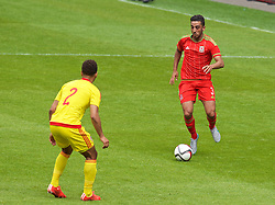CARDIFF, WALES - Friday, June 5, 2015: Wales' Neil Taylor during a practice match at the Cardiff City Stadium ahead of the UEFA Euro 2016 Qualifying Round Group B match against Belgium. (Pic by David Rawcliffe/Propaganda)
