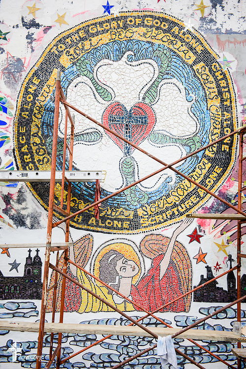 Detail photograph of the mural project commemorating the 500th anniversary of the Lutheran Reformation on the building across from Zion Lutheran Church, Worms, Neb., on Saturday, Sept. 23, 2017. LCMS Communications/Erik M. Lunsford