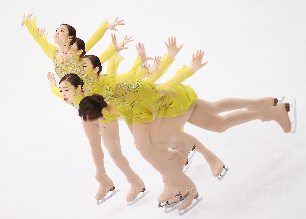 A multiple exposure picture of Kim Yuna of South Korea competing in the Figure Skating Ladies Short Program at Iceberg Skating Palace during the Sochi 2014 Olympic Games, Sochi, Russia, 19 February 2014.