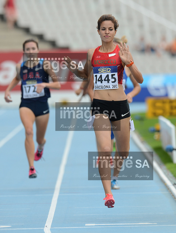 BARCELONA, Spain: Tuesday 10 July 2012, Manal El Bahraoui of Morocco in the ladies 800m during the morning session of Day 1 of the IAAF World Junior Championships at the Estadi Olimpic de Montjuic..Photo by Roger Sedres/ImageSA