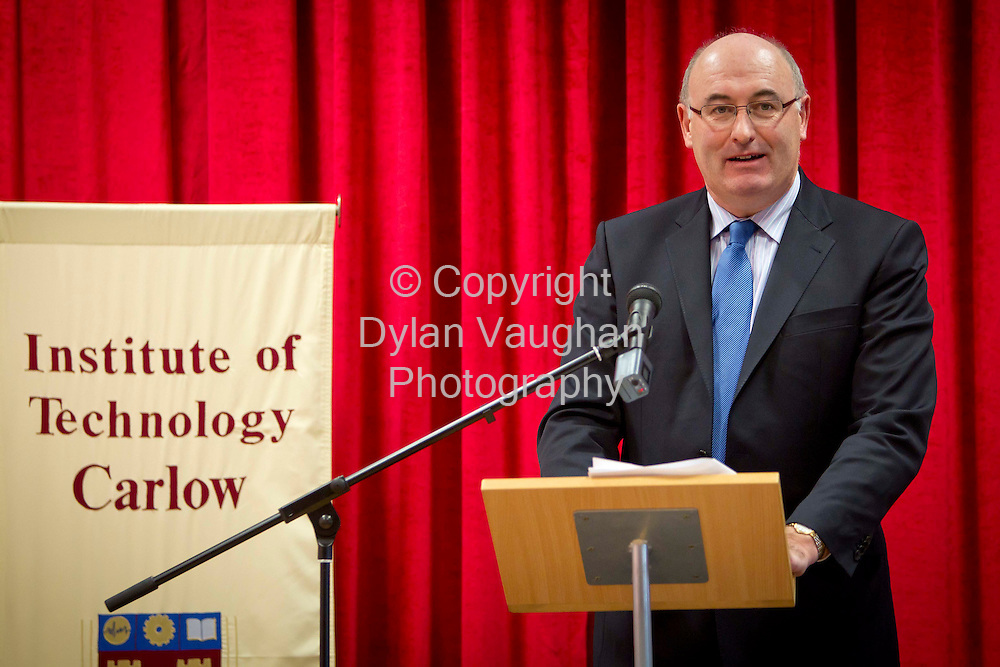 16/1/2012.The Minister for the Environment Community and Local Government Phil Hogan TD pictured at the opening of the Barrow Centre at Carlow Institute of Technology yesterday..Picture Dylan Vaughan...