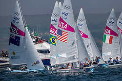 10.08.2012, Bucht von Weymouth, GBR, Olympia 2012, Segeln, im Bild Clark Amanda, Lihan Sarah, (USA, 470 Women).GOLD:.Aleh Jo, Powrie Olivia, (NZL, 470 Women) // during Sailing, at the 2012 Summer Olympics at Bay of Weymouth, United Kingdom on 2012/08/10. EXPA Pictures © 2012, PhotoCredit: EXPA/ Daniel Forster ***** ATTENTION for AUT, CRO, GER, FIN, NOR, NED, .POL, SLO and SWE ONLY!