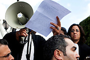 Tunis, Tunisia. January 26th 2011.Lawyers chant slogan and protest at the Kasbah Square....