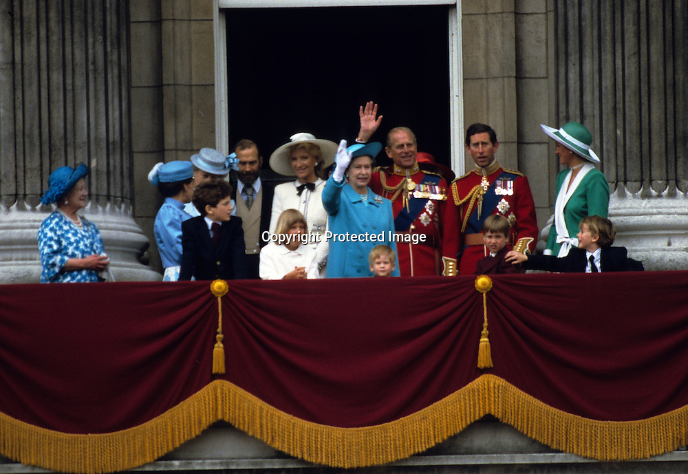 The Royal Family including Diana, Princess of Wales, Charles, Prince of Wales, Prince William, Prince Philip, Duke of Edinburgh, Prince Harry, Queen Elizabeth ll, Lady Gabriella and Lord Frederick Windsor, Princess Margaret and the Queen Mother stand on the balcony of Buckingham Palace following the Trooping the Colour ceremony in June, 1988<br />