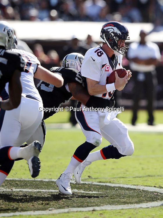 Denver Broncos quarterback Peyton Manning (18) gets sacked in the third quarter by Oakland Raiders outside linebacker Malcolm Smith (53) during the 2015 NFL week 5 regular season football game against the Oakland Raiders on Sunday, Oct. 11, 2015 in Oakland, Calif. The Broncos won the game 16-10. (©Paul Anthony Spinelli)