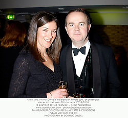 MR & MRS IAN HISLOP he is the editor of Private Eye,  at an awards dinner in London on 28th January 2003.PGS 33