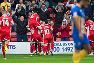 Walsall players celebrate taking the lead during the EFL Sky Bet League 1 match between Walsall and Shrewsbury Town at the Banks's Stadium, Walsall, England on 7 October 2017. Photo by Darren Musgrove.