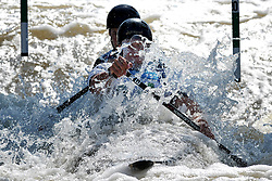 June 2, 2018 - Prague, Czech Republic - Feature with Nikolai Shkliaruk and Igor Mikhailov in action during the Men's C2 finals at the European Canoe Slalom Championships 2018 at Troja water canal in Prague, Czech Republic, 02 June 2018. (Credit Image: © Slavek Ruta via ZUMA Wire)