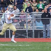Salesianum Corner Back Mitchell Sgro (4) returns interception for a touchdown Saturday, Oct. 17, 2015 at Concord Stadium in Wilmington.