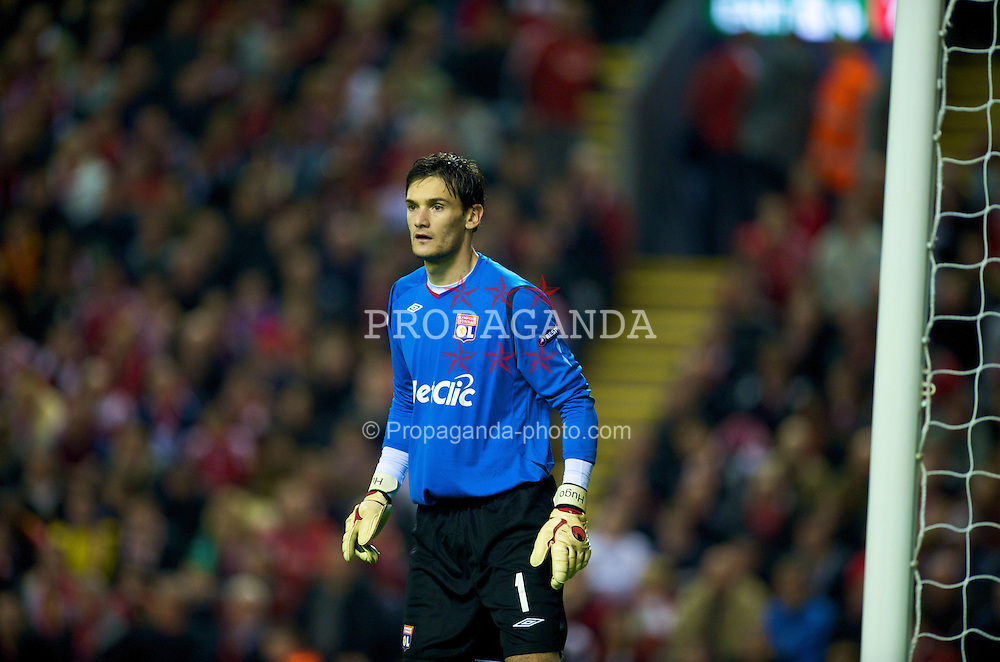 LIVERPOOL, ENGLAND - Tuesday, October 20, 2009: Olympique Lyonnais's goalkeeper Hugo Lloris in action against Liverpool during the UEFA Champions League Group E match at Anfield. (Pic by David Rawcliffe/Propaganda)