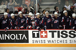 U.S. Team at  play-off round quarterfinals ice-hockey game USA  vs Finland at IIHF WC 2008 in Halifax,  on May 14, 2008 in Metro Center, Halifax, Nova Scotia,Canada. Win of Finland 3 : 2. (Photo by Vid Ponikvar / Sportal Images)