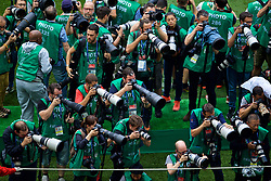 MOSCOW, RUSSIA - Sunday, July 1, 2018: Photographer's roped into a pen before the FIFA World Cup Russia 2018 Round of 16 match between Spain and Russia at the Luzhniki Stadium. (Pic by David Rawcliffe/Propaganda)