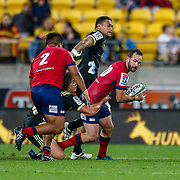 Jono Lance runs during the Super rugby union game (Round 14) played between Hurricanes v Reds, on 18 May 2018, at Westpac Stadium, Wellington, New  Zealand.    Hurricanes won 38-34.