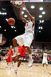 Nov 14, 2011; Stanford CA, USA;  Stanford Cardinal forward Josh Huestis (24) dunks against the Fresno State Bulldogs during the first half of a preseason NIT game at Maples Pavilion. Mandatory Credit: Jason O. Watson-US PRESSWIRE