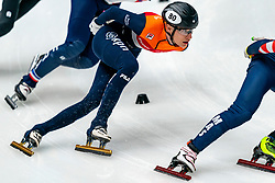 Friso Emons in action on the 1000 meter during ISU World Cup Finals Shorttrack 2020 on February 14, 2020 in Optisport Sportboulevard Dordrecht.