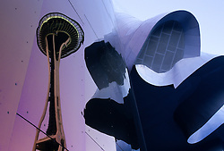 USA, Washington, Seattle. Space Needle reflecting in EMP building.