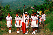 MEXICO, FESTIVALS, CINCO DE MAYO parade of rural schoolchildren in  a community near Poza Rica, Veracruz State