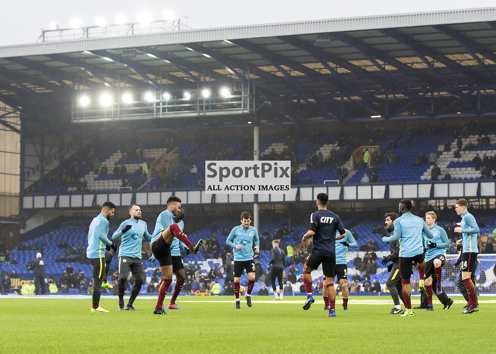 Man City warm up at Goodison in preparation for a tough away fixture.Everton v Manchester City, Barclays English Premier League, 15th January 2017. (c) Paul Cram   SportPix