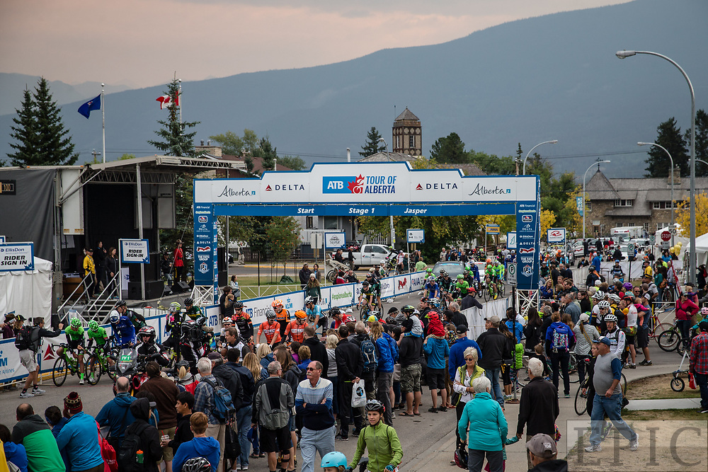 JASPER, ALBERTA, CAN - September 1: Tour of Alberta team presentation on September 1, 2017 in Jasper, Canada. (Photo by Jonathan Devich)