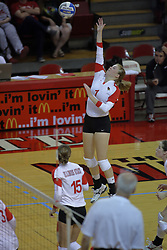 31 Aug 2010: Shannon McGlaughlin powers the ball over from the right side. The Illinois State Redbirds trumped the Rambles of Loyola-Chicago 3 sets to none at Redbird Arena on the campus of Illinois State University in Normal Illinois.