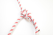 Bowline Knot on white background one of the most used loop knots