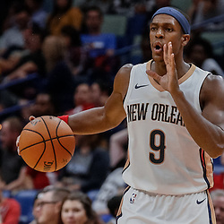 Oct 3, 2017; New Orleans, LA, USA; New Orleans Pelicans guard Rajon Rondo (9) against the Chicago Bulls during the second half of a NBA preseason game at the Smoothie King Center. The Bulls defeated the Pelicans 113-109. Mandatory Credit: Derick E. Hingle-USA TODAY Sports