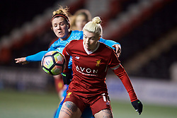 WIDNES, ENGLAND - Wednesday, February 7, 2018: Liverpool's Bethany England and Arsenal Ladies's Emma Mitchell during the FA Women's Super League 1 match between Liverpool Ladies FC and Arsenal Ladies FC at the Halton Stadium. (Pic by David Rawcliffe/Propaganda)