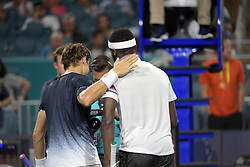 March 25, 2019 - Miami Gardens, Florida, United States Of America - MIAMI GARDENS, FLORIDA - MARCH 25: Frances Tiafoe defeats David Ferrer of Spain during day 8 of the Miami Open presented by Itau at Hard Rock Stadium on March 25, 2019 in Miami Gardens, Florida. ..People: Frances Tiafoe, David Ferrer. (Credit Image: © SMG via ZUMA Wire)