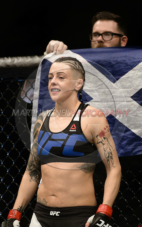"GLASGOW, SCOTLAND, JULY 18, 2015: Joanne Calderwood stands in her corner during ""UFC Fight Night 72: Bisping vs. Leites"" inside the SSE Hydro Arena in Glasgow, Scotland (Martin McNeil for ESPN)"