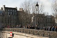 France. Paris. Archeveche bridge on the  Seine river  connect  left bank and ile de la cite