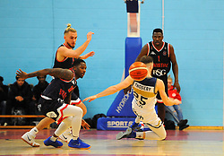 Jalan McCloud of Bristol Flyers fouls Adam Thoseby of Worcester Wolves- Photo mandatory by-line: Nizaam Jones/JMP- 24/11/2018 - BASKETBALL - SGS Wise Arena - Bristol, England - Bristol Flyers v Worcester Wolves - British Basketball League Championship