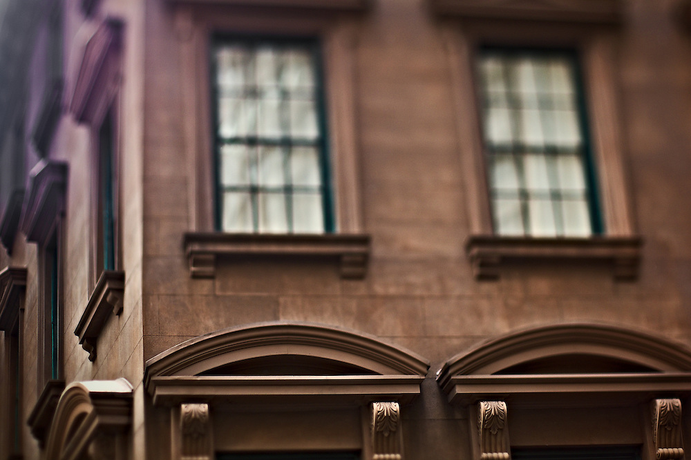 Corner of old brownstone building, lower Manhattan, New York, NY, US