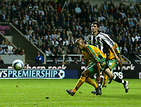 Photo. Andrew Unwin.<br /> Newcastle United v Norwich, Barclays Premiership, St James Park, Newcastle upon Tyne 25/08/2004.<br /> Norwich's Leon McKenzie fails to control the ball and misses a golden opportunity to score the winner for his team