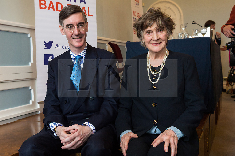 © Licensed to London News Pictures. 27/03/2018. Brexit hard liner Jacob Rees-Mogg with his mother Gillian Morris after delivering a Brexit speech at the Leave Means Leave event. London, UK. Photo credit: Ray Tang/LNP